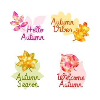Colección de insignias de otoño de acuarela