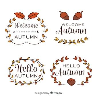 Colección de insignias de otoño dibujadas a mano