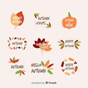 Colección de insignias de otoño dibujado a mano