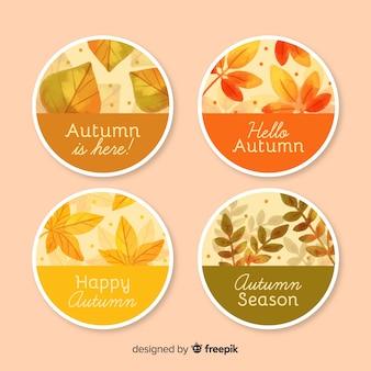 Colección de insignias de otoño diseño acuarela