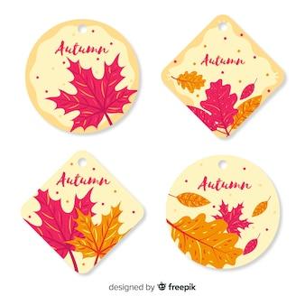 Colección de insignias de otoño en diseño plano