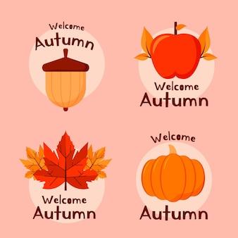 Colección de insignias de otoño de diseño plano