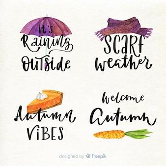 Colección de insignias de otoño estilo acuarela