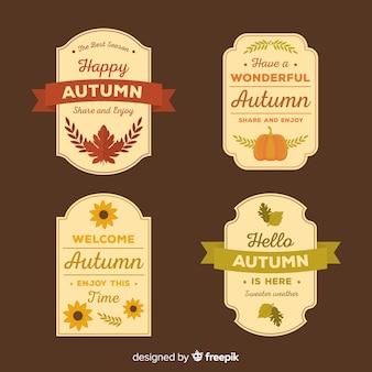 Colección de insignias de otoño de estilo plano.