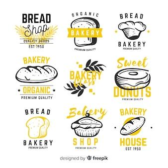 Colección de insignias de panadería dibujadas a mano