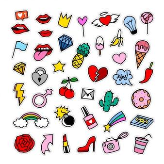 Colección de insignias de parches de moda