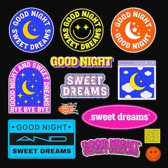 Colección de insignias, parches, pegatinas de buenas noches y dulces sueños. pines de moda vector fresco.
