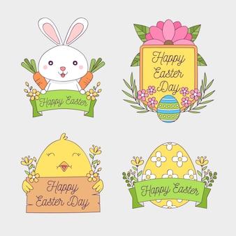 Colección de insignias de pascua con conejitos y huevos dibujados a mano