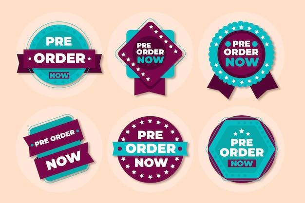 Colección de insignias de pedidos anticipados en línea
