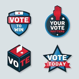 Colección de insignias y pegatinas de votación