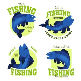 Colección de insignias de pesca detalladas vintage