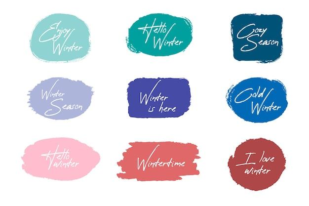 Colección de insignias de pincel de invierno