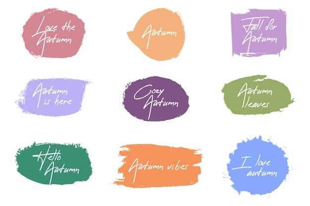 Colección de insignias de pincel de otoño