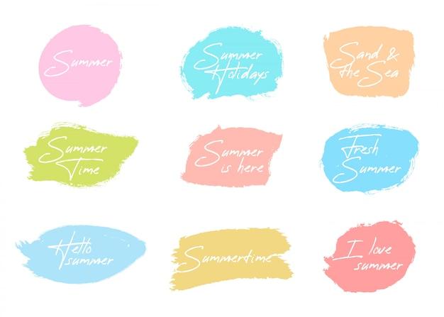 Colección de insignias de pincel de verano