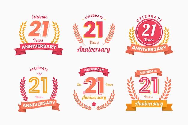 Colección de insignias planas de aniversario 21