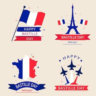 Colección de insignias planas del día de la bastilla