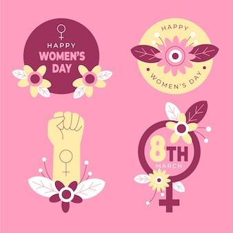 Colección de insignias planas del día internacional de la mujer