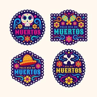 Colección insignias planas dia de muertos dibujadas a mano