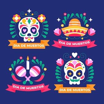 Colección de insignias planas de dia de muertos