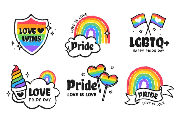 Colección de insignias planas del día del orgullo