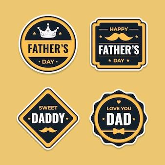 Colección de insignias planas del día del padre