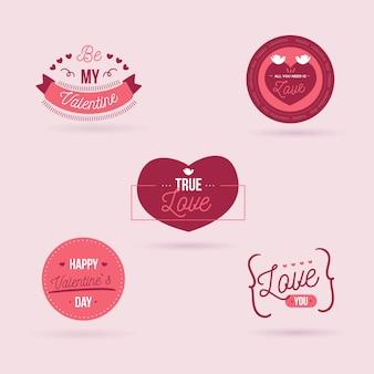 Colección de insignias planas del día de san valentín
