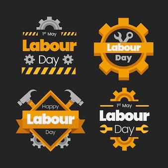 Colección de insignias planas del día del trabajo