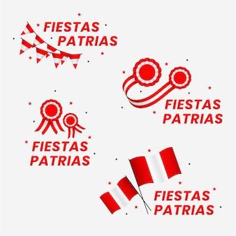 Colección de insignias planas fiestas patrias de peru