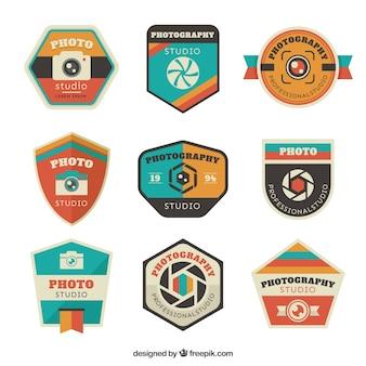 Colección de insignias planas de foto y escudos