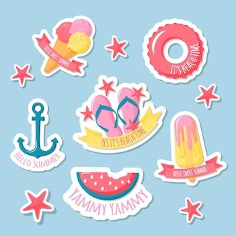 Colección de insignias planas de verano