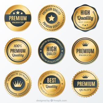 Colección de insignias premium doradas redondas