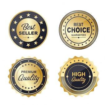 Colección de insignias premium de oro