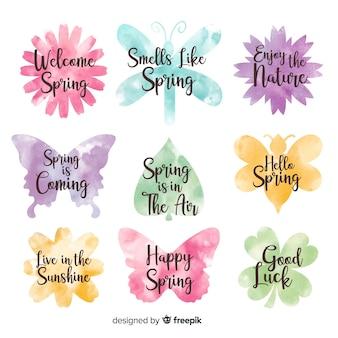 Colección de insignias de primavera en acuarela