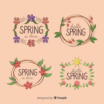 Colección de insignias de primavera dibujadas a mano