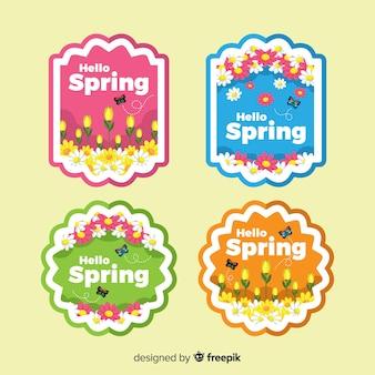 Colección de insignias de primavera en diseño plano