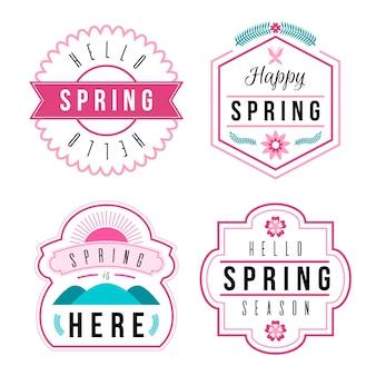 Colección de insignias de primavera de diseño plano