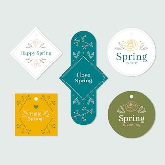 Colección de insignias de primavera en varias formas