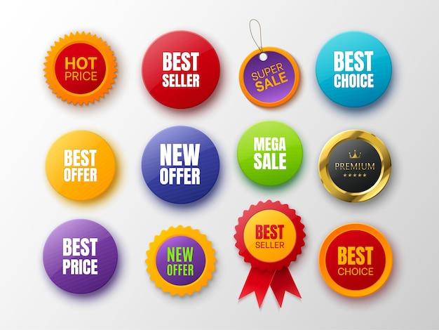 Colección de insignias promocionales diferentes colores y formas insignias aisladas en blanco nueva oferta mejor opción mejor precio y etiquetas premium ilustración vectorial