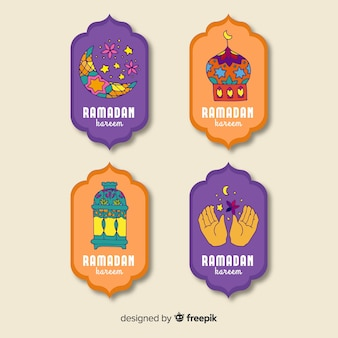 Colección de insignias de ramadán dibujadas a mano