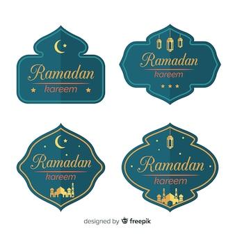 Colección de insignias de ramadán en diseño plano