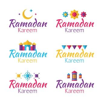 Colección de insignias de ramadán de diseño plano