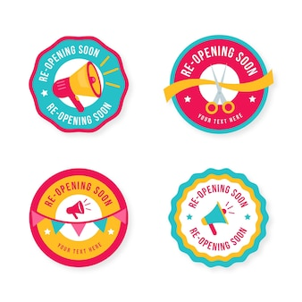 Colección de insignias de reapertura pronto