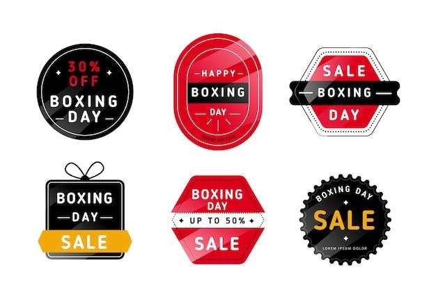 Colección de insignias de rebajas de boxing day en diseño plano