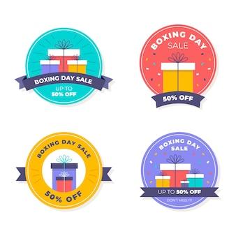 Colección de insignias de rebajas de boxing day planas