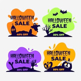 Colección de insignias de rebajas de halloween dibujadas a mano