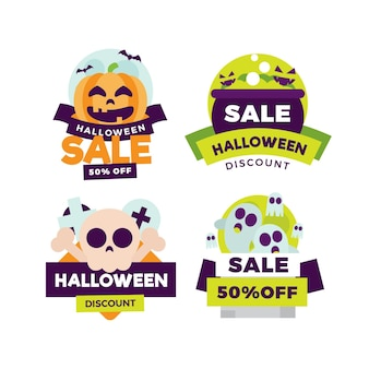 Colección de insignias de rebajas de halloween de diseño plano