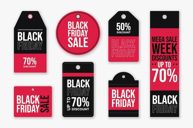 Colección de insignias de rebajas de viernes negro plano