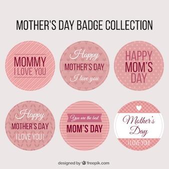 Colección de insignias redondas listas para el día de la madre