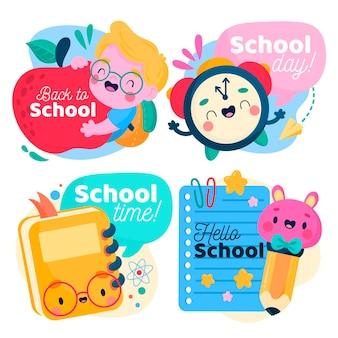 Colección de insignias de regreso a la escuela dibujadas a mano