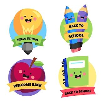 Colección de insignias de regreso a la escuela de dibujos animados